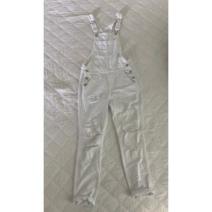 American Eagle White Distressed Overalls